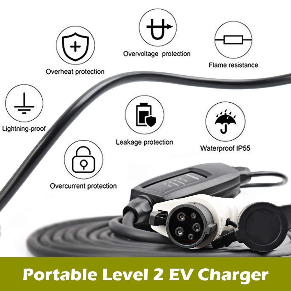 KEMiMOTO EU Plug J1772 EVSE Input EV Plug Level 2 EV Charger 16A Type 1 Schuko 5M cable For Electric Car Charging Mode 2 plug
