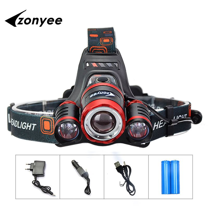 Zonyee Searchlight <font><b>Headlamp</b></font> Flashlight Head Rechargeable Head Torch 10000Lm3 XML T6 LED Flashlight For Head 18650 Head Lamp