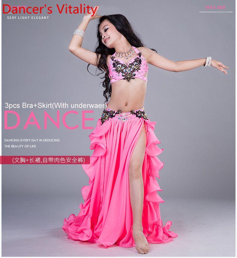 Mädchen Leistung Bauchtanz Kostüme Kind Ballroom Dance Anzug Bra + Rock 2 stücke Kinder Wettbewerb Anzug S, M, L Für Mädchen