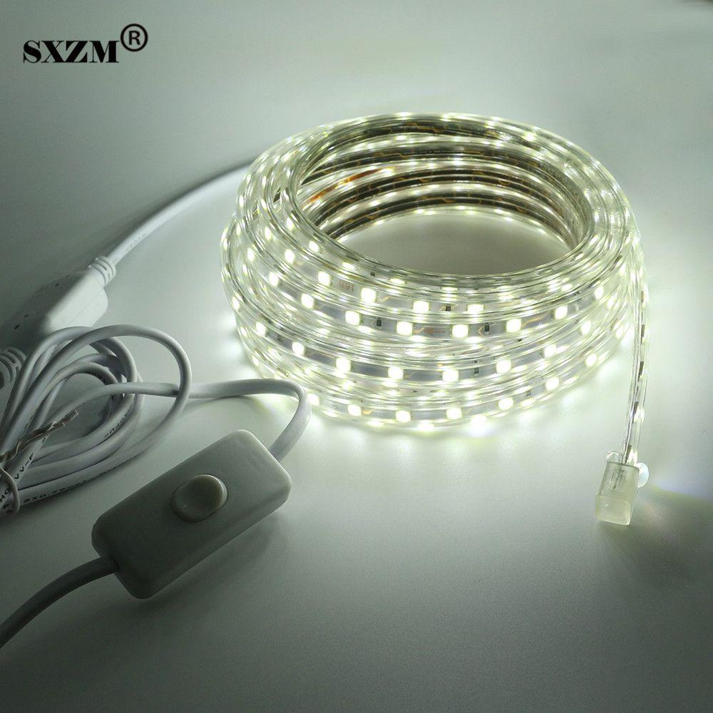 AC220V SXZM 5050 led-streifen mit AUF/aus-schalter Wasserdicht flexible led-band 60 leds/Meter outdoor garten beleuchtung eu-stecker