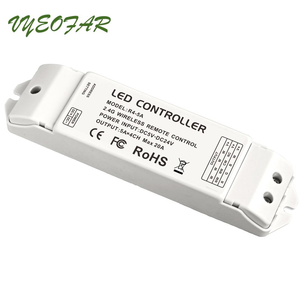 LTECH R4-5A Constant Voltage 2.4G Wireless Receiving controller match Wifi-104 Lighting System,DC5-24V 4 Channel 5A MAX 20A