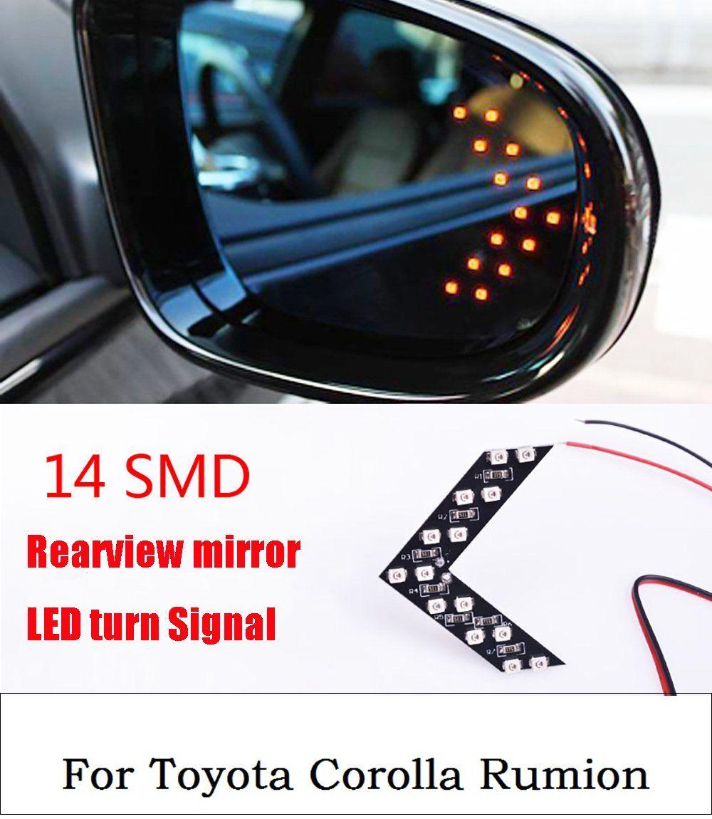 Nueva 2 unids! 14SMD 5 colores LED para Toyota Corolla rumion indicador del coche señal de vuelta flecha panel lateral espejo luz lámpara impermeable