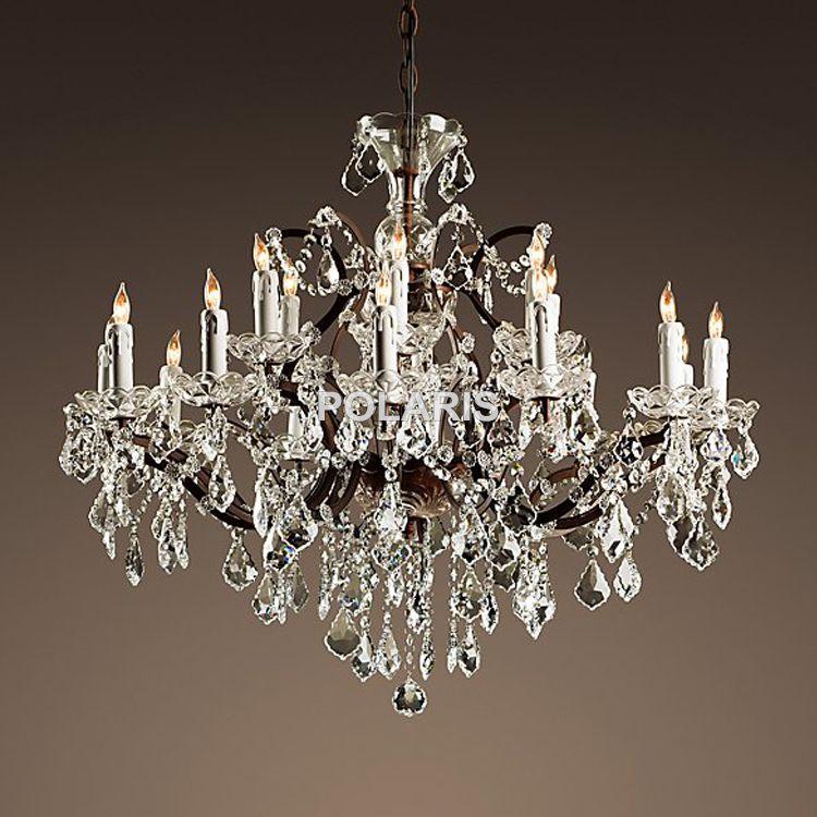 Vintage Rustic Crystal Chandelier Lighting Candle Chandeliers Pendant Lamp Hanging Light for Dining Room