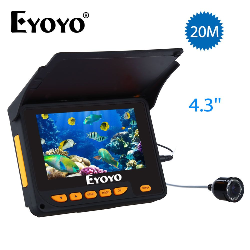 Eyoyo <font><b>Fish</b></font> Finder 20M HD 1000TVL Underwater Ice Fishing Camera Video 4.3 LCD 8pcs IR LED 150 Degrees Angle Sunvisor Fishfinder