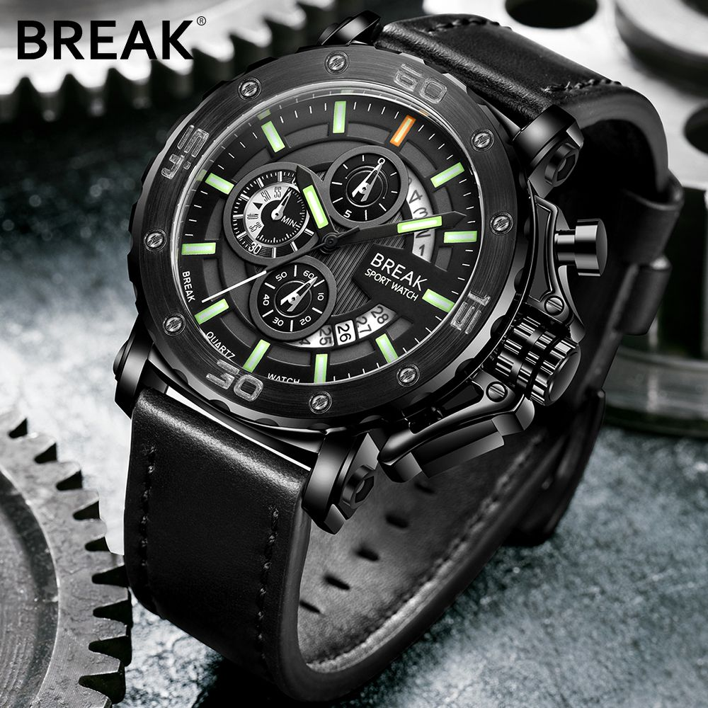 BRECHEN Männer Top Luxusmarke Lederband Lässige Mode Chronograph Mega Leucht Business Sport Armbanduhren Mann Military Watch