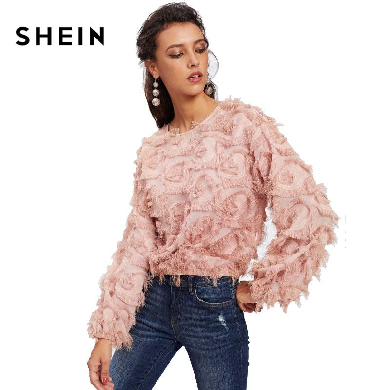 SHEIN Pink Fringe Patch Mesh Top Sexy Transparent Autumn Womens Tops and Blouses Long Sleeve O-Neck Elegant Female Girls Tops
