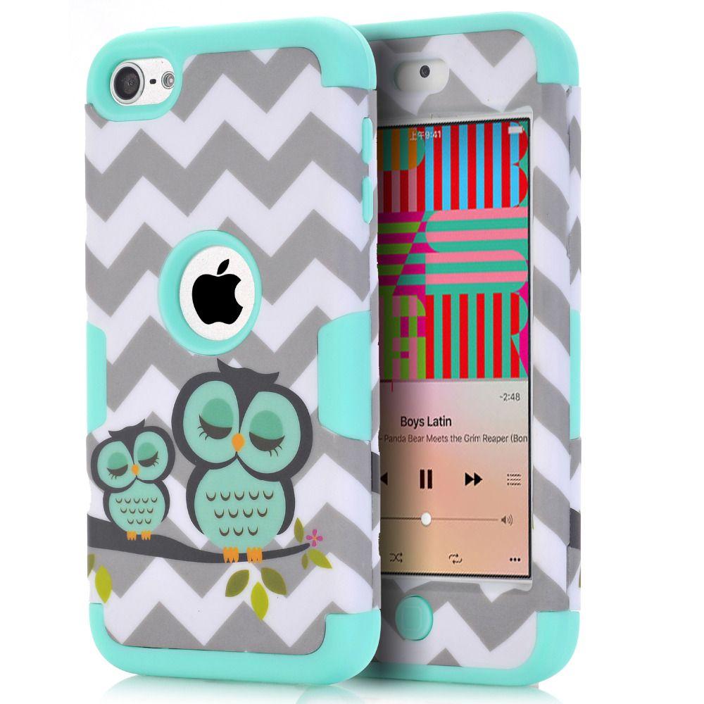 Für iPod Touch 6 Eulen Hülle Antiklopf Hybrid Hard & Silikon Telefon Cases Fundas w/Bildschirm Protector Film + Stylus Pen Geschenke
