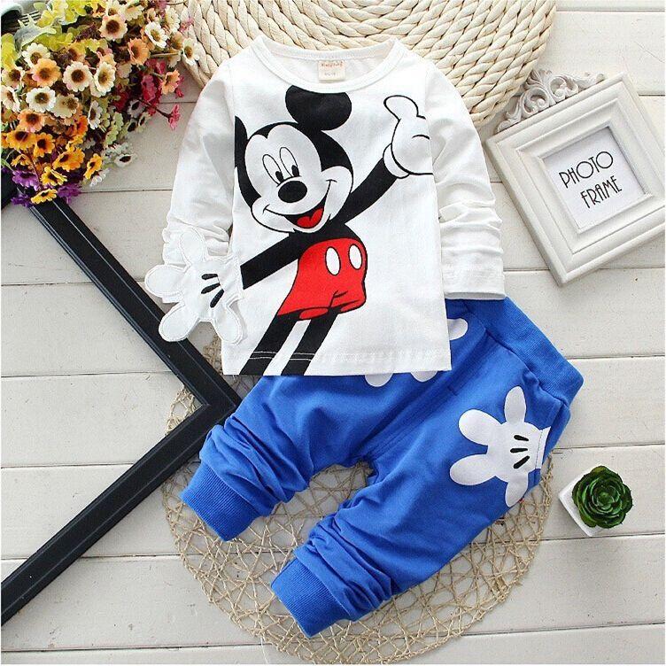 Détail nouveau bébé filles garçons Mickey vêtements ensembles enfants caractère coton à manches longues chemise + pantalon costume enfants vêtements