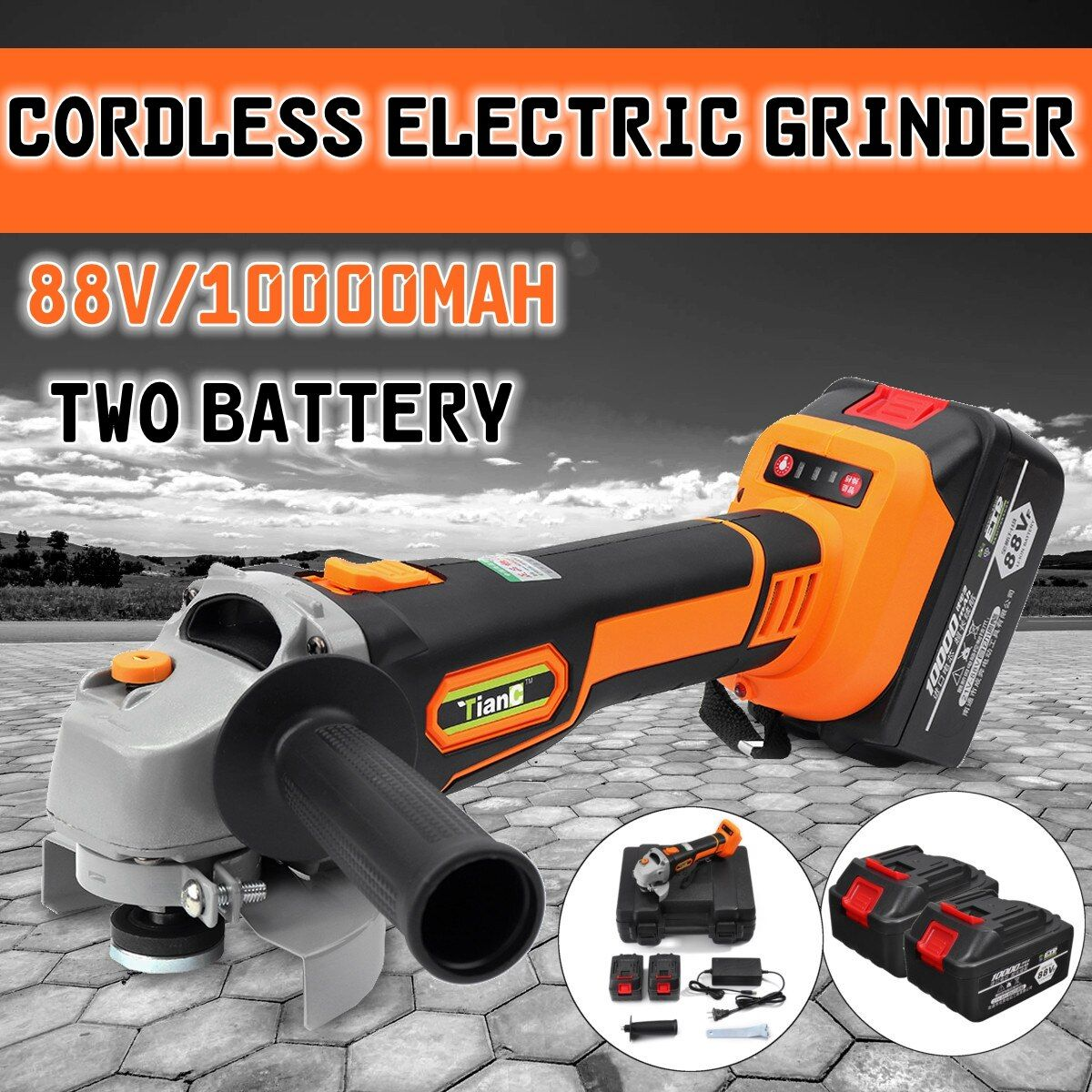 88Vf 10000mAh Electric Angle Grinder Cordless Polisher Polishing Machine Cutting Tool with 2 battery for grinding cutting metal