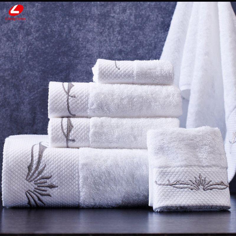 Lifeng Главная Белый Полотенца комплект 100% Egyptain хлопок Большие размеры Для ванной Полотенца 80*150 см пляжные Полотенца серебро Вышивка Уход за к...