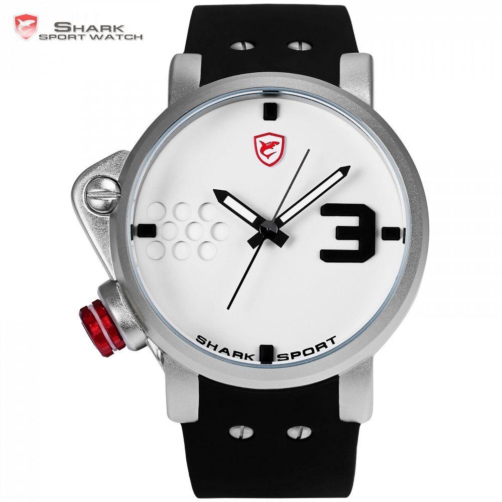 Salmon SHARK Sport Watch Designer Big Left Side Button Case Quartz Watches Men Male Silicon Band Relogio Creative Watches /SH521