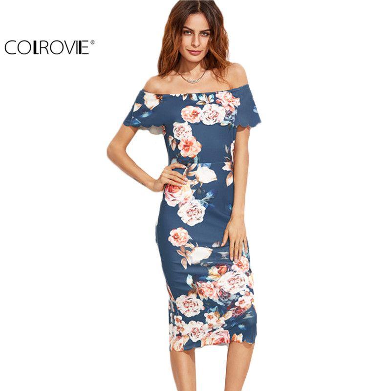 COLROVIE Blue Floral Print Off The Shoulder Scalloped Hem Sheath Dress Female <font><b>Work</b></font> Wear Ruffles Pencil Midi Dress
