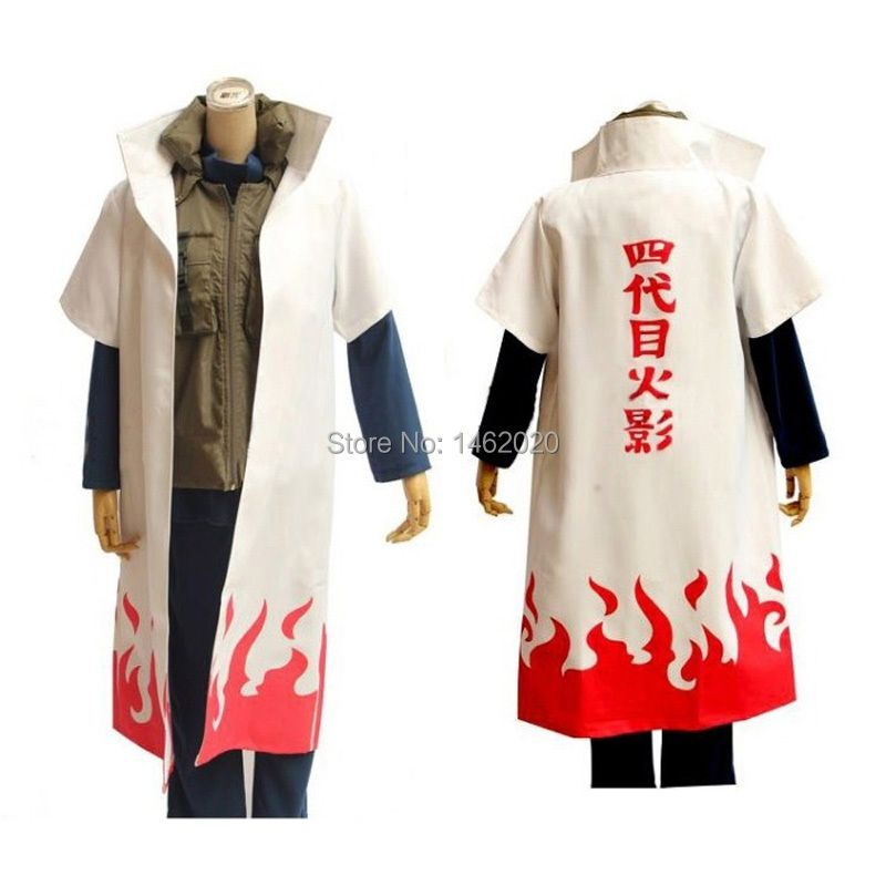 Naruto Cosplay Costume naruto 4th Hokage Cloak Robe White Cape Dust Coat Unisex Fourth Hokage Namikaze Minato Uniform Cloak