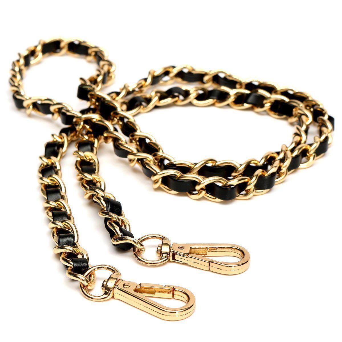 VSEN Hot Chain Purse Cross-body Handbag Shoulder Bag Strap Replacement Accessories Light gold + black120cm