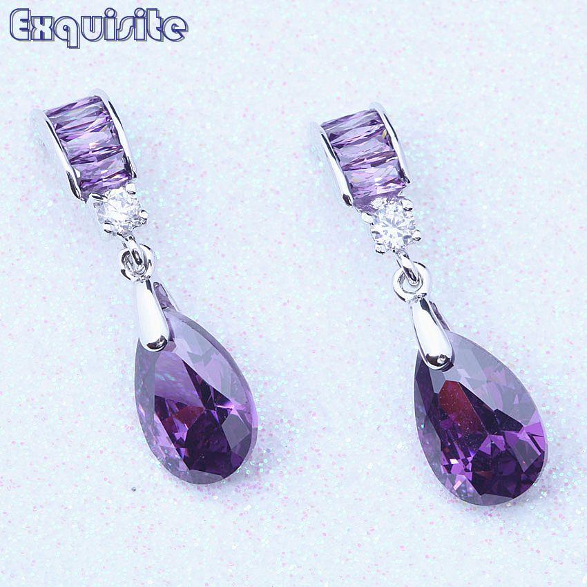 Noble Purple Crystal & Cubic Zirconia Gota Cuelga Los Pendientes Para Las Mujeres Del Partido del Color Barato Joyería de Moda C0073
