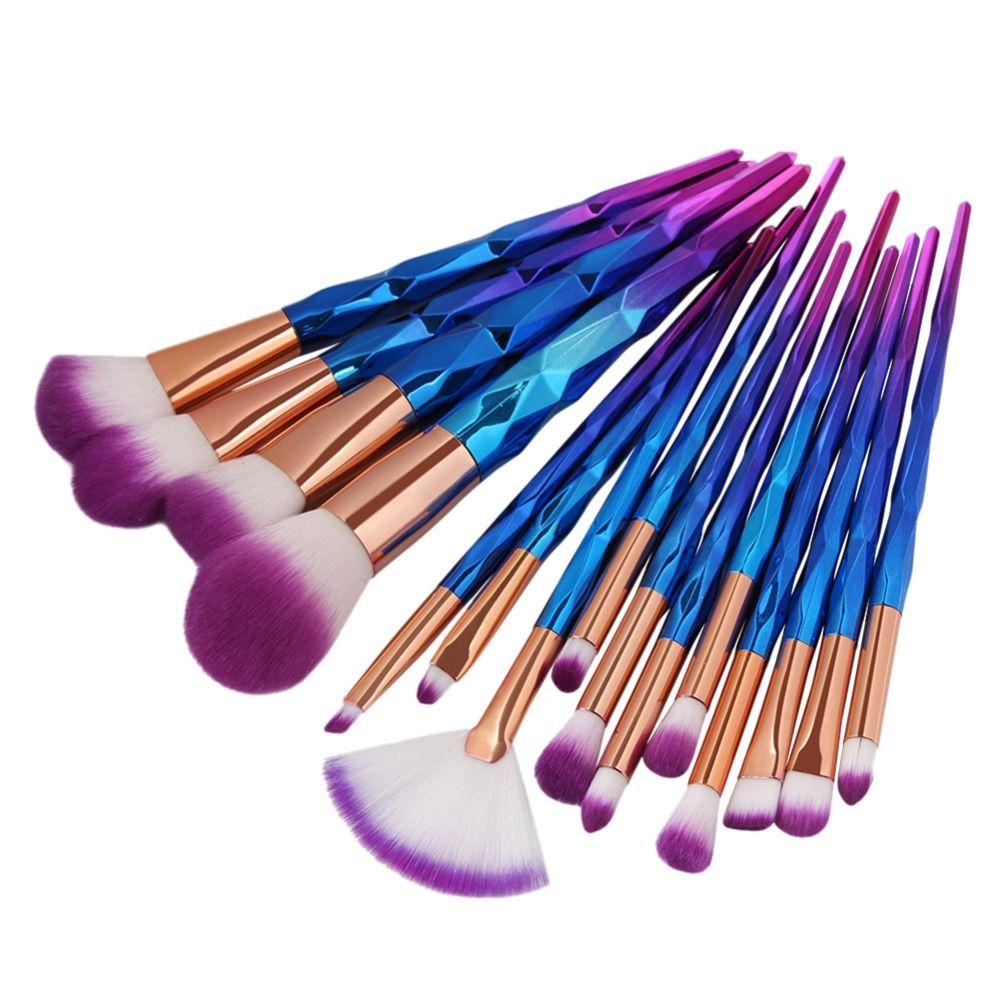 15 pièces Ensemble De Pinceaux De Maquillage Rose Professionnel Fondation Fard À Joues Poudre Brosse Outils Plat Eyeliner Sourcils Kit De Pinceau De Maquillage