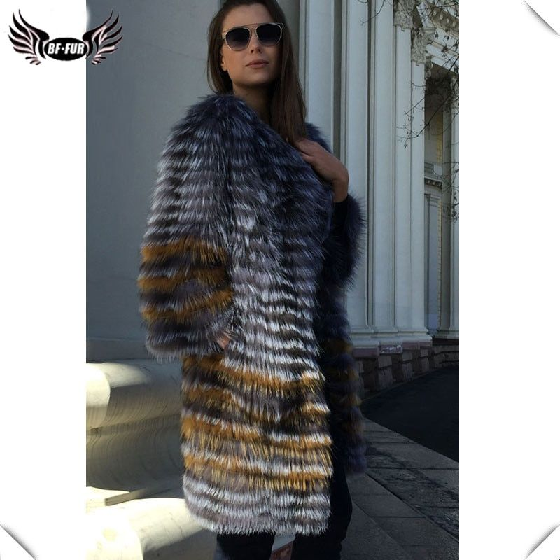 BFFUR Women's Winter Real Fox Fur Coat 2018 New fashion Silver Fur Jacket Striped Style Overcoat Women Fox Fur Outerwear