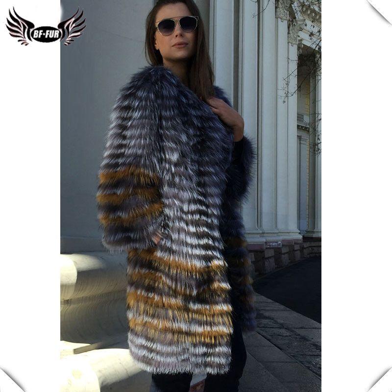 BFFUR frauen Winter Echt Fuchs Pelz Mantel 2018 Neue mode Silber Pelz Jacke Gestreiften Stil Mantel Frauen Fuchs Pelz oberbekleidung