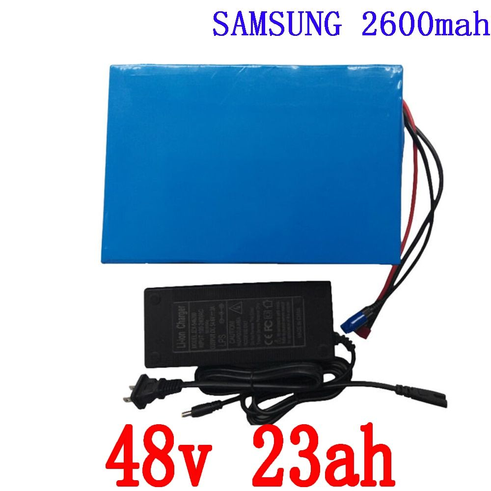 Free customs duty 48V 2000W Electric Bike Battery 48V 23AH Lithium battery with PVC Case 50A BMS, 54.6V 2A charger