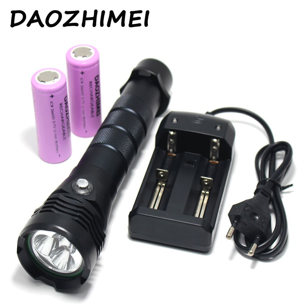 10000 Lumens 3*XML L2 LED Waterproof Flashlight Underwater 80M Diving Torch outdoor camp fishing +2*26650 battery+Charger
