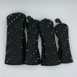 Black Rivets Golf Head Covers For Driver Fairways #3 #5 Hybrids Complete Set Woods Clubs Headcovers For Men Women