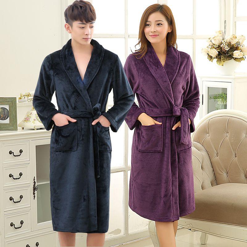 Nouveaux Amants Doux comme de la Soie Hiver Chaud Long Peignoir Hommes Flanelle Kimono Peignoir Hommes Salon Corail Polaire Robe de Chambre Robes de Sexe Masculin