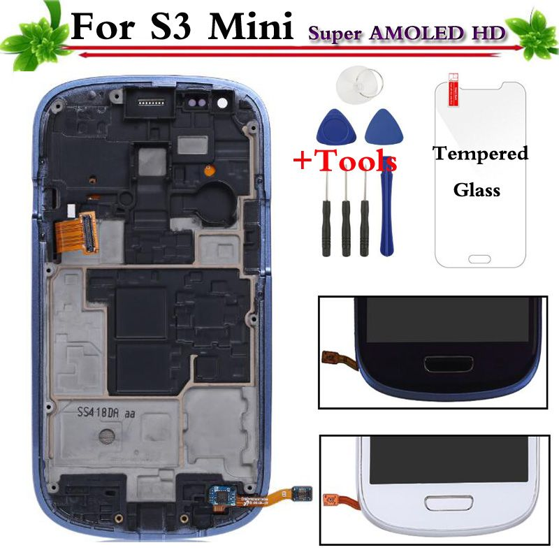 Replacement For Samsung Galaxy S3 Mini i8190 LCD Display Touch Screen With Frame Assembly White/Blue