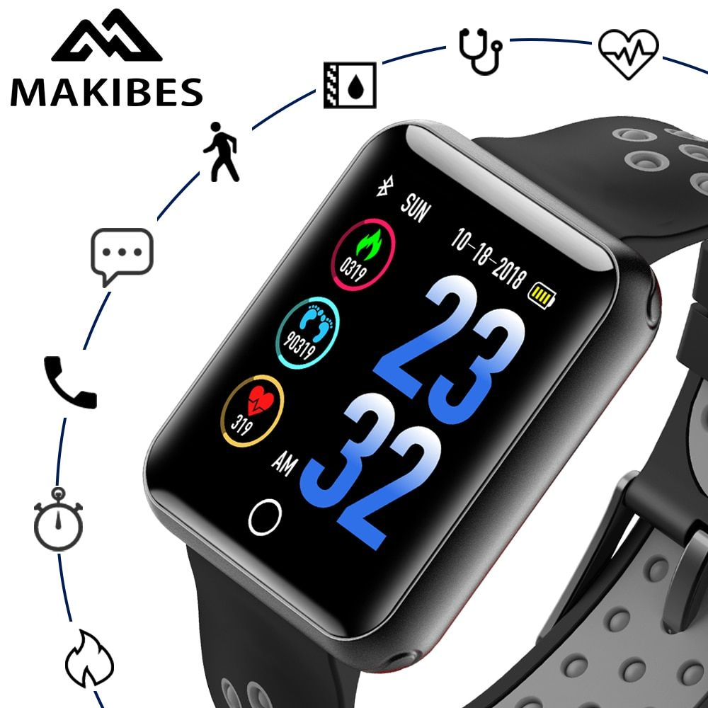 Makibes CK01 Smart Watches Men's Color Screen Tempered glass Fitness Tracker Q18 Blood pressure IP68 clock Heart rate Smartwatch