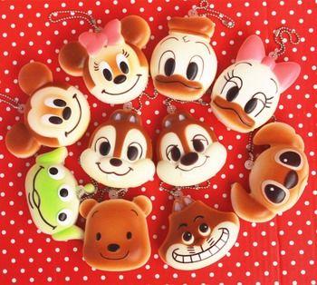 En gros 10 pcs/lot d'origine 6 cm kawaii doux parfumé visqueux mickey bun jouets à presser touches du téléphone cellulaire pendentif squishies pain