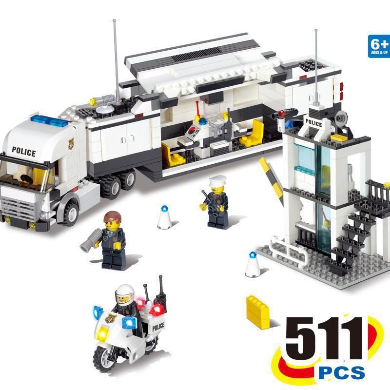 BOHS <font><b>City</b></font> Police Station Coastal Guard SWAT Truck Motorcycle Building Blocks Toys (No retail box),Compatible with Lego