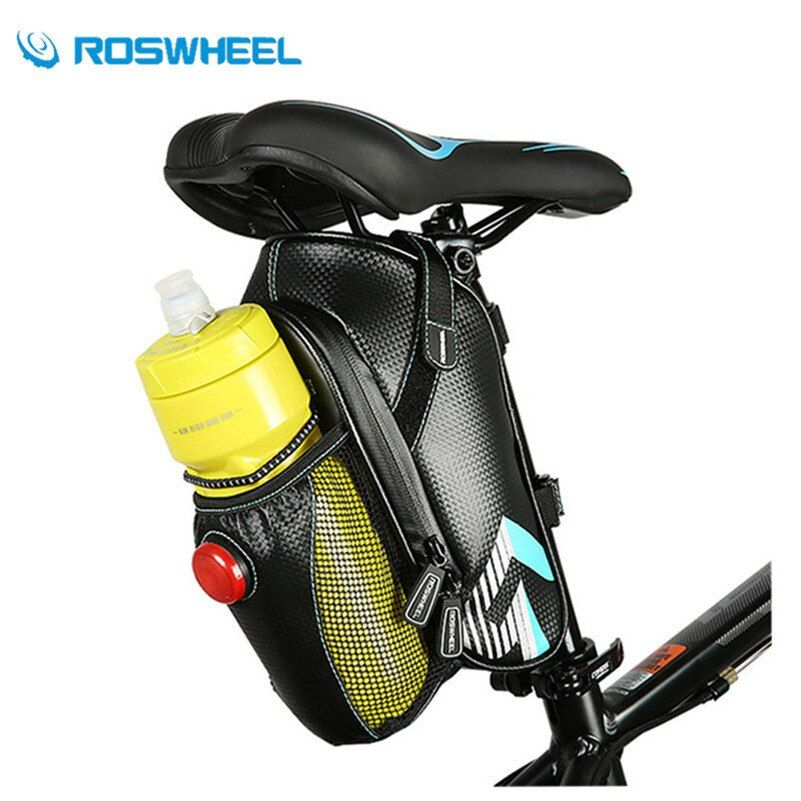 ROSWHEEL Bicycle Bag Waterproof Bike Accessories Saddle Kettle Tail Bag With Taillight New Upgrade Cycling Mountain MTB Bike Bag