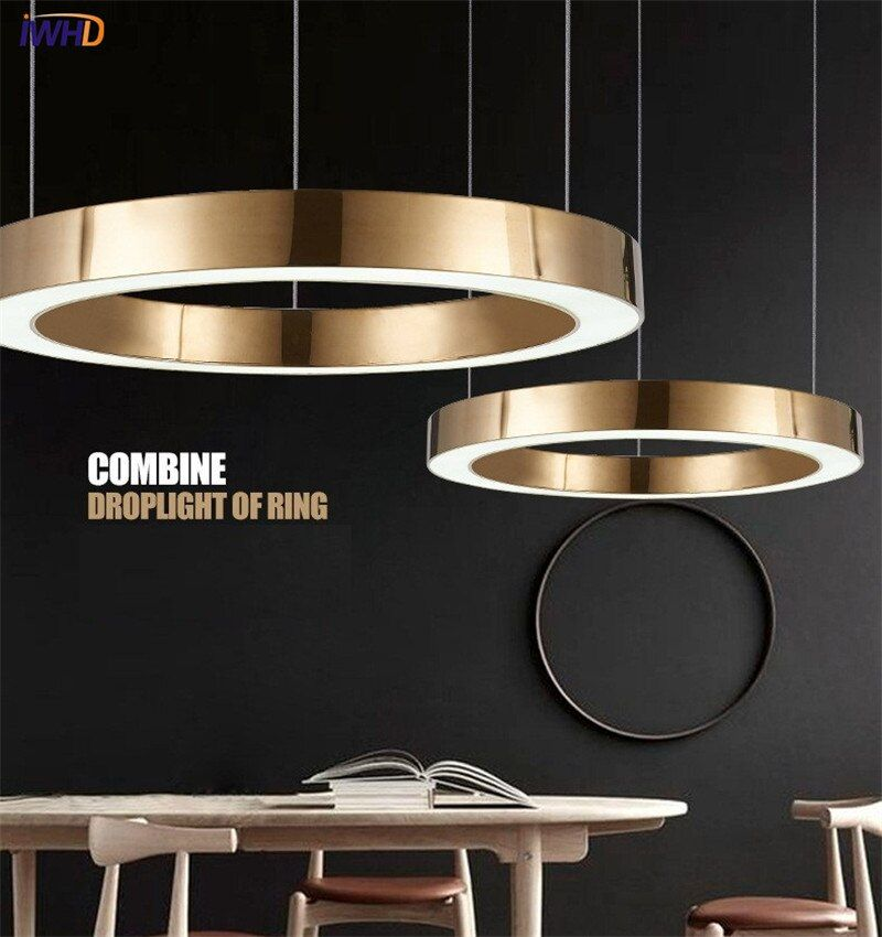IWHD Gold Fashion Modern LED Pendant Light Fixtures Ring Shape Acrylic Droplight For Dining Room Hanging Lamp Indoor Lighting