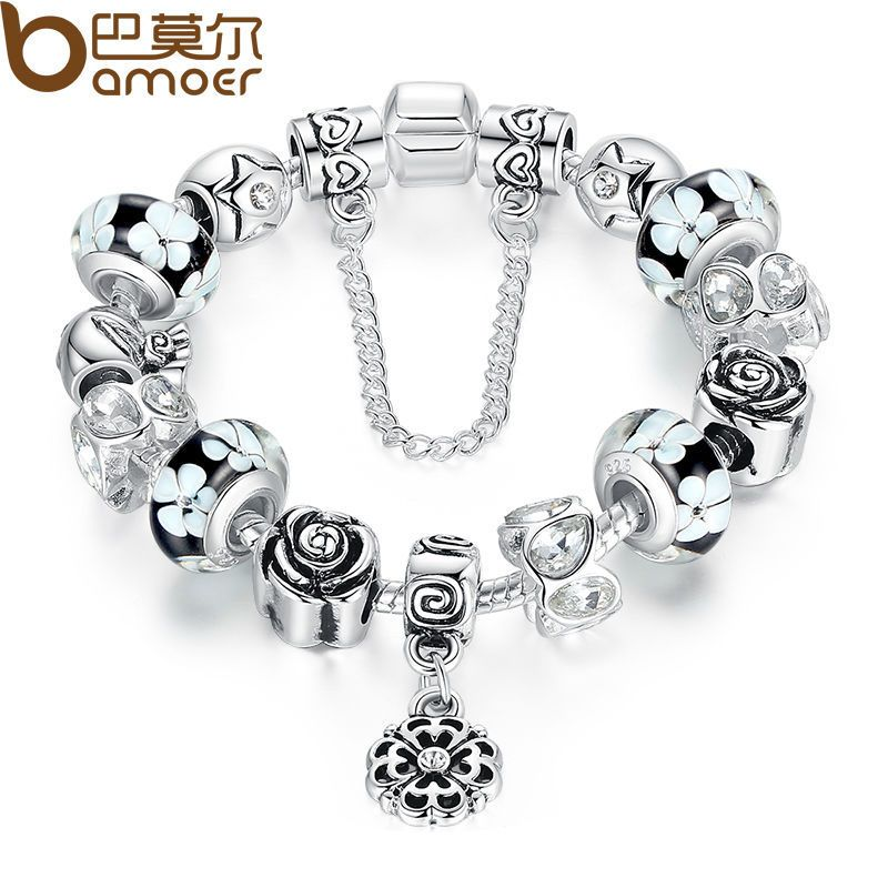 BAMOER Silver Flower Glass Bead Female Bracelet With Safety Chain Strand Bracelet Bijoux Women Clothing Accessories PA1835