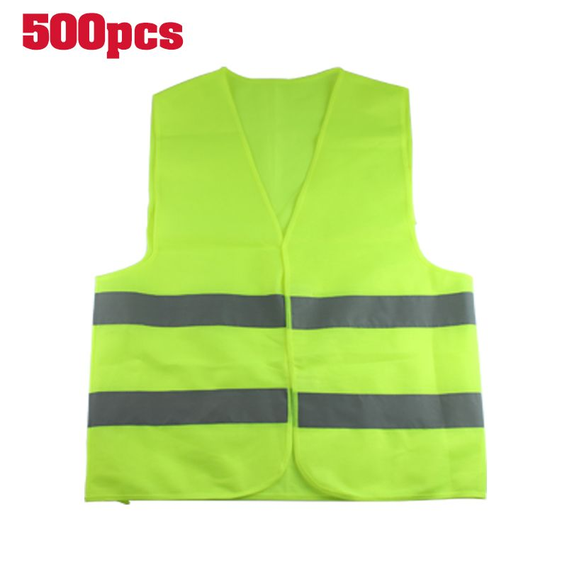 500PC Traffic Outdoor Motorcycle Night Rider Cycling Safety Security Visibility Reflective Vest Clothing Sports Orange, Green