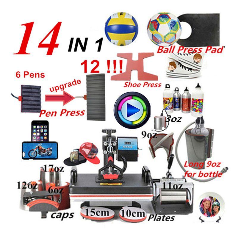 14 In 1 Combo Wärme stift Presse Maschine, sublimation Drucker/schuh Transfer Maschine Für Becher/Cap/T-shirt/Schuh/stift/schuh /ball