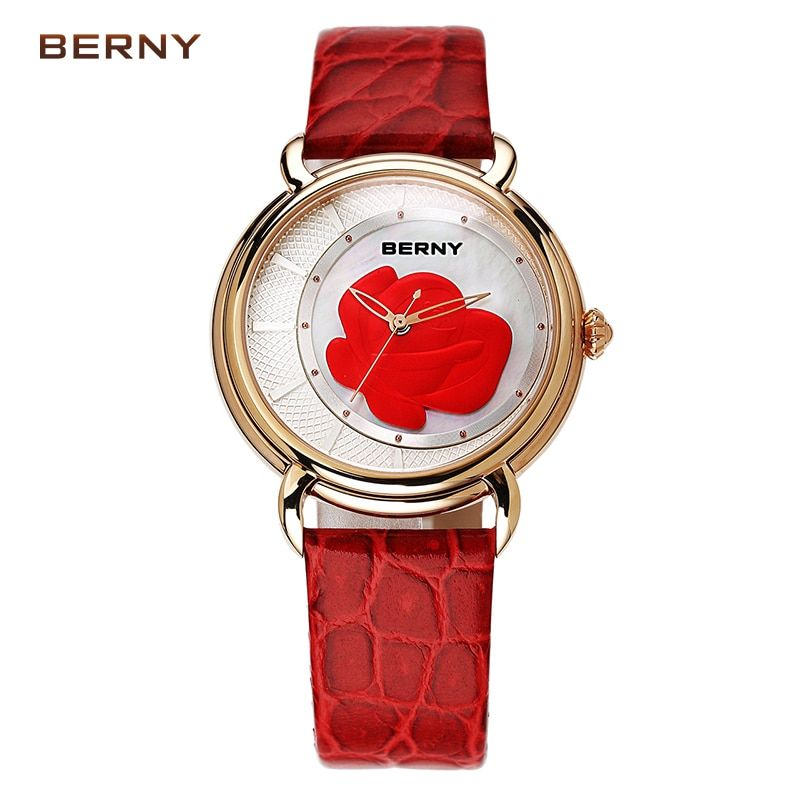 BERNY 2017 New Arrival Flower Ladies Watch the Best Luxury Brand Watch Women Dress Quartz Watches Clock Red Leather watch 2764L