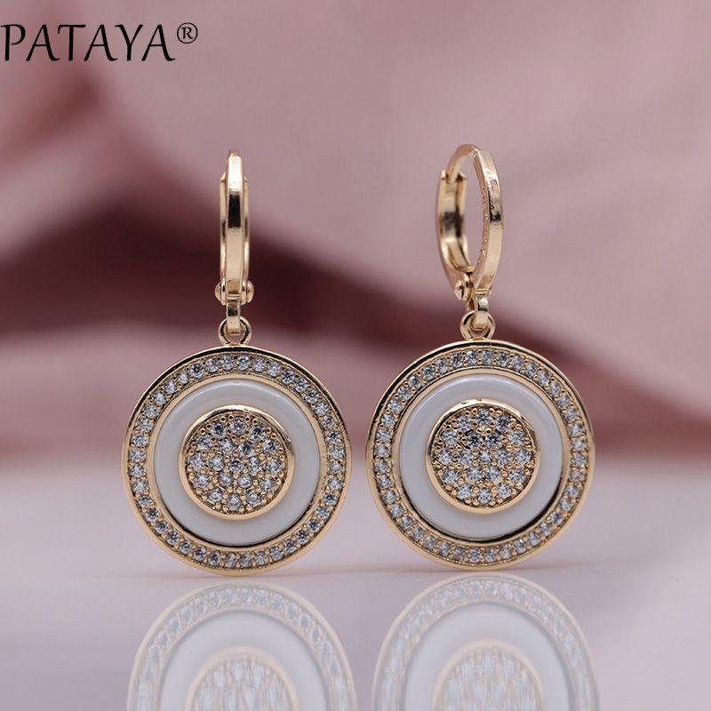PATAYA New True White Gold Round Natural Zircon Black Ceramic Long Dangle Earrings 585 Rose Gold Women Wedding Luxury Jewelry