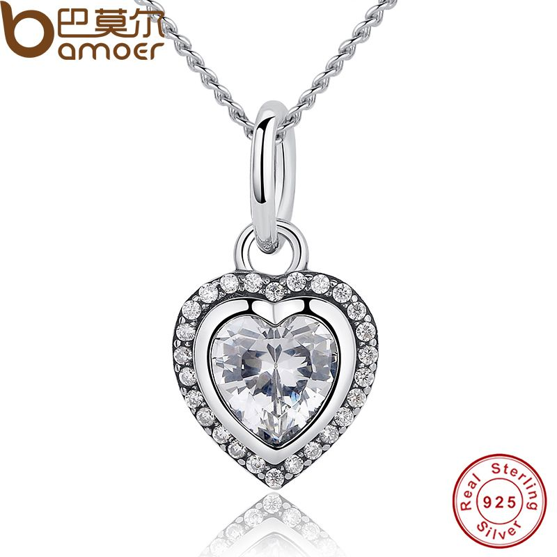 BAMOER New Arrival Luxury 925 Sterling Silver Love Heart Pendant Necklace for Women Wedding Fine Jewelry PAS260