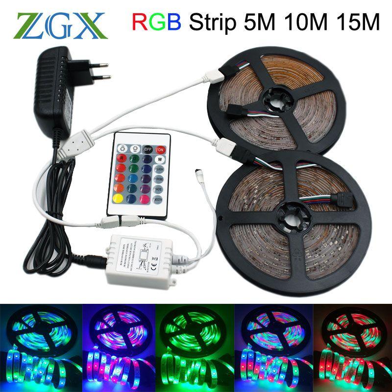 SMD 2835 RGB LED Strip light tira lamp neon 300LED Decor Flexible Tape waterproof diode ribbon 24K Controller DC 12V adapter set
