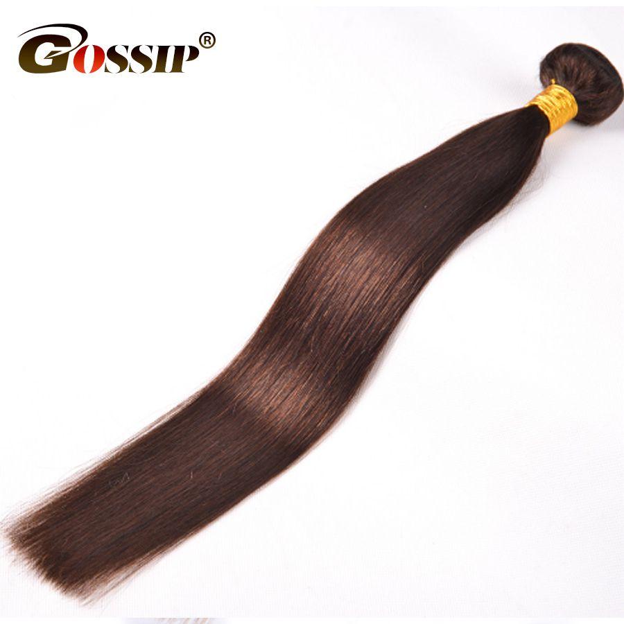 Gossip Brazilian Straight Hair Weave Bundles Dark Brown 100% Human Hair Bundles Double Weft Hair Extension 1 Piece Only Non Remy
