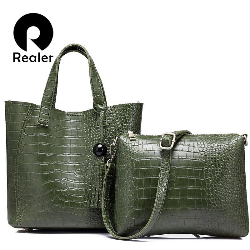 REALER brand 2pcs/set women bag large handbag with tassel artificial leather tote bag female small shoulder bag purse Black