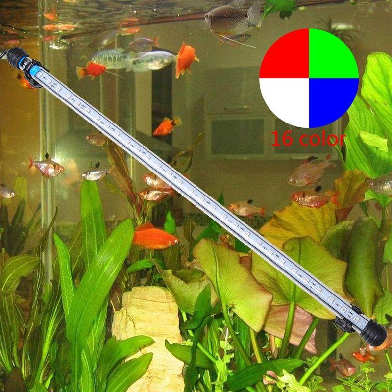 EU Plug 57CM 6.5W 30LED Fish Tank Aquarium LED Light 5050 SMD RGB Light Bar IP68 Waterproof Submersible Lamp Aquarium decoration