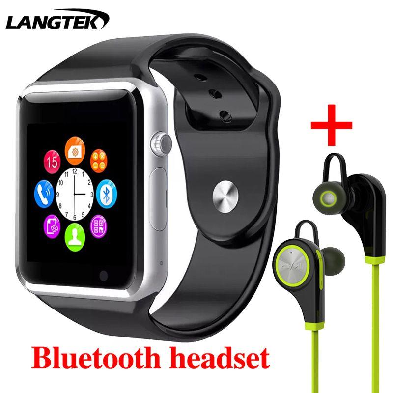 Langtek Для мужчин Для женщин наручные Смарт часы Поддержка несколько языков с Камера Bluetooth Смарт часы Шагомер sim-карты