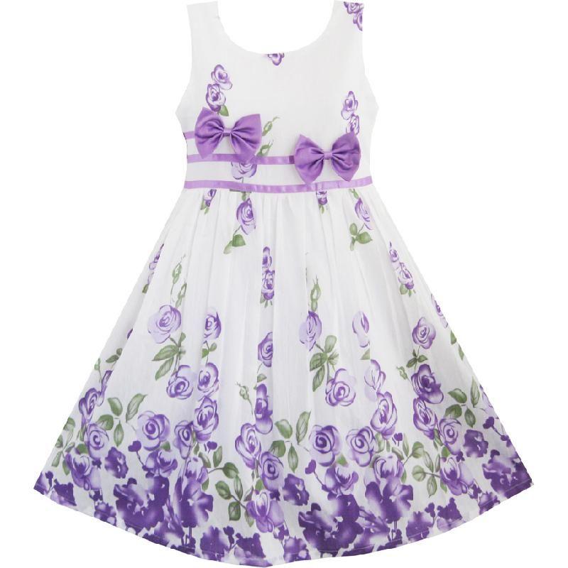 Sunny Fashion Robe Fille Violet Rose Fleur Double Nœud papillon Fête Des gamins Robe d'été