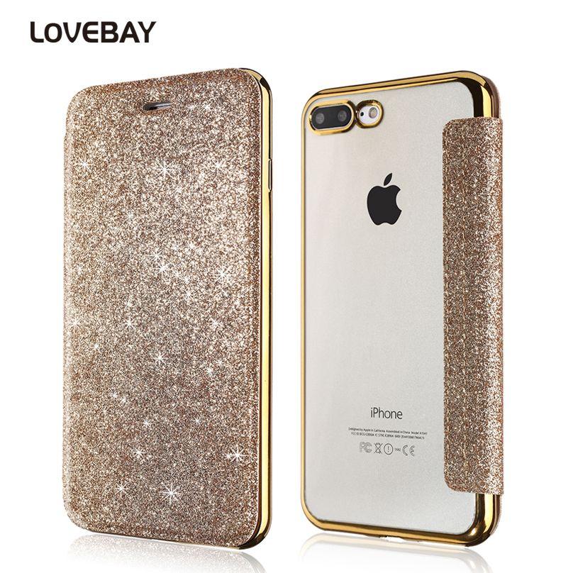 Lovebay телефона чехол для iphone 8 7 6 6S плюс Bling PU + мягкая ТПУ Блеск Косметическая пудра флип Ясно сзади обложка слот для карты прозрачный Чехол