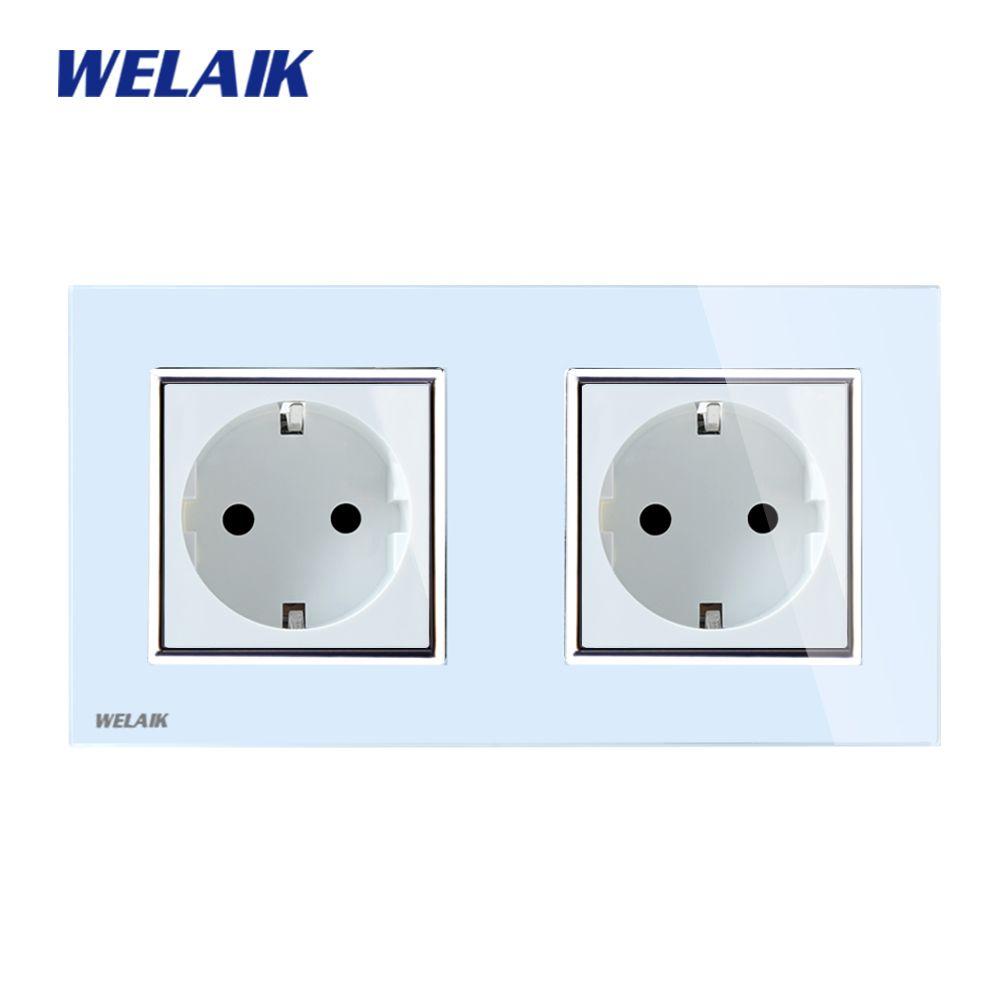 WELAIK Brand Glass Panel Wall Socket Wall Outlet White Black European Standard Power Socket AC110~250V A28E8EW/B