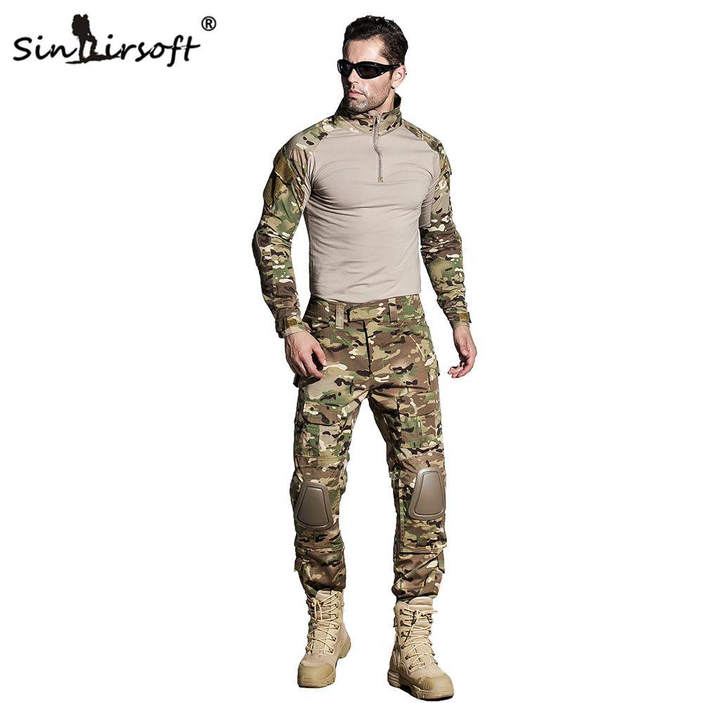 SINAIRSOFT Tactique G3 EDR Camouflage Uniforme de Combat Airsoft Chemise Pantalon Avec Genouillères Militaire Multicam Chasse Camo Vêtements