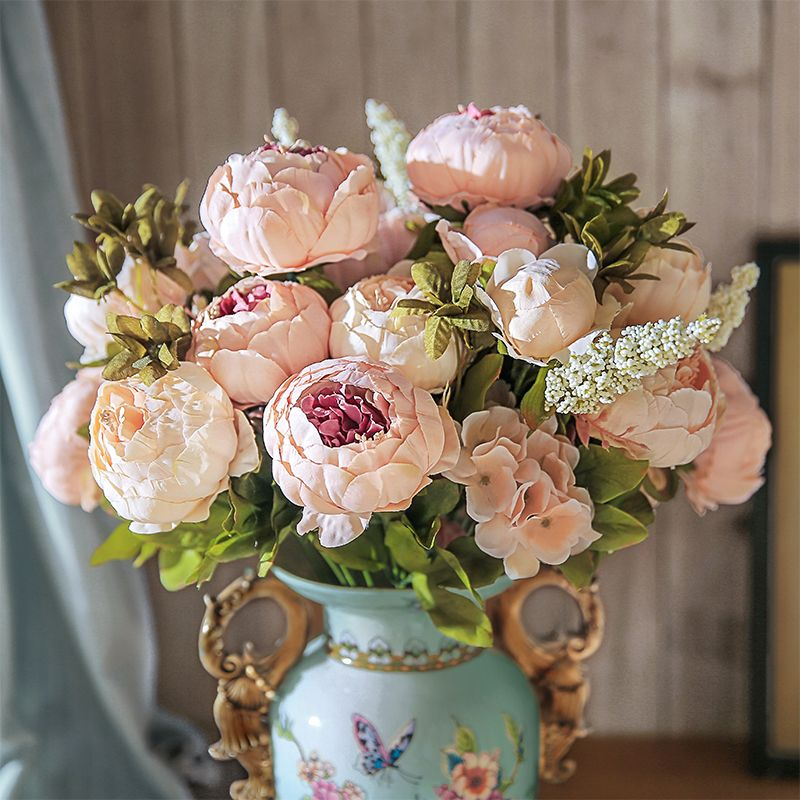 13 Branches Petit frais Soie Artificielle Pivoine Bouquets Grandes Fleurs pour la Fête De Mariage Bureau Hôtel et La Maison Décoration CHENCHENG