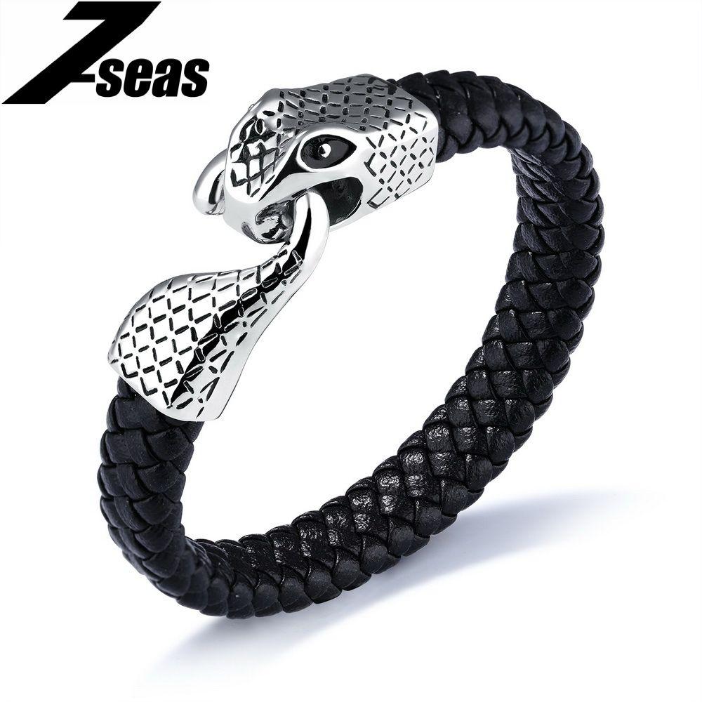 7SEAS Punk Snake Bracelet For Men 2017 Summer Braided Leather Mens Jewelry Male Wrap Bracelets Magnet Buckle Dropshipping,JM1138