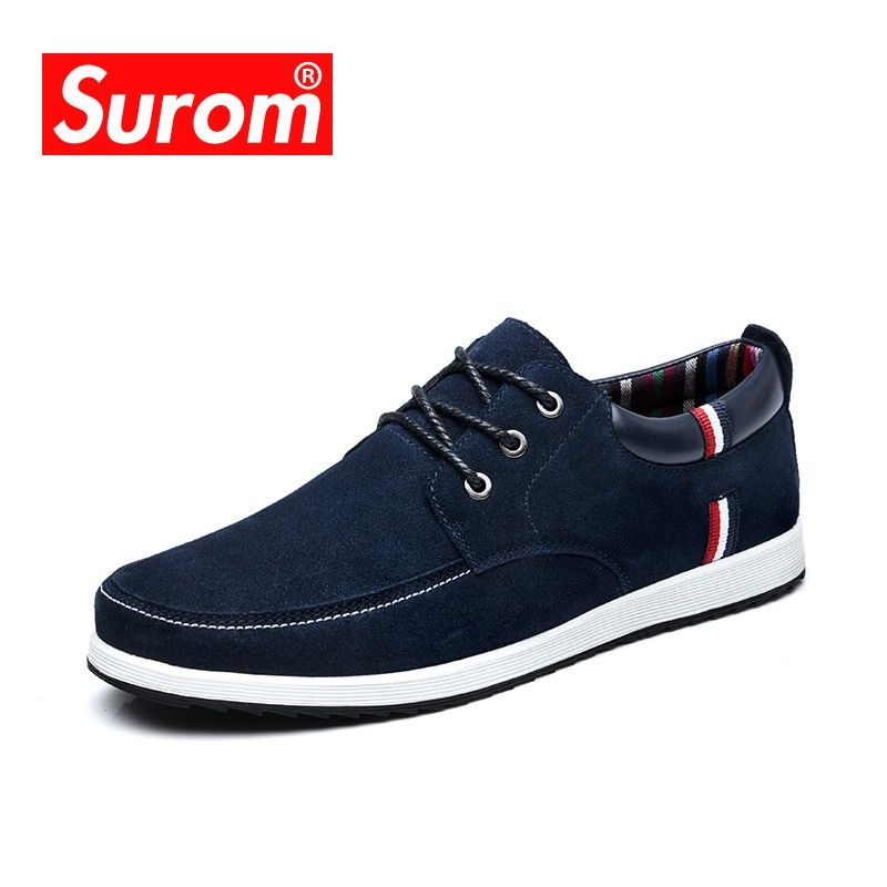 SUROM Men's Leather Casual Shoes Moccasins Men Loafers Luxury Brand Spring New Fashion Sneakers Male <font><b>Boat</b></font> Shoes Suede Krasovki